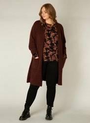 Długi, gładki sweter w kolorze czekolady