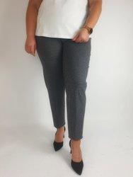 Eleganckie, grafitowe spodnie ze streczem, wąska nogawka w szarą pepitkę XXL