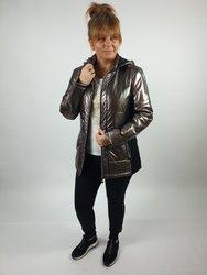 Przejściowa, metaliczna kurtka PLUS SIZE łączona z czarną dzianiną