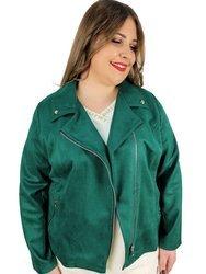 Ramoneska plus size zielona, imitacja zamszu