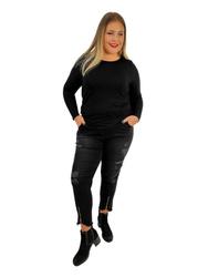 Spodnie damskie jeans grafit XXL z dziurami