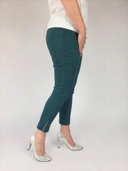 Zielone spodnie 7/8,strecz, wysoki stan, nogawka z zamkiem