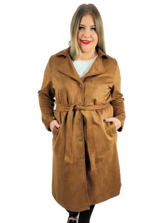 Jesienny płaszcz plus size z eko zamszu brązowy