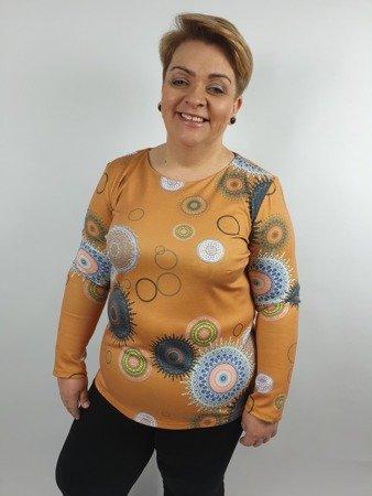 Miodowa bluzka we wzory długi rękaw