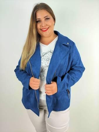 Ramoneska-żakiet plus size na zamek imitacja zamszu kolor jeansowy